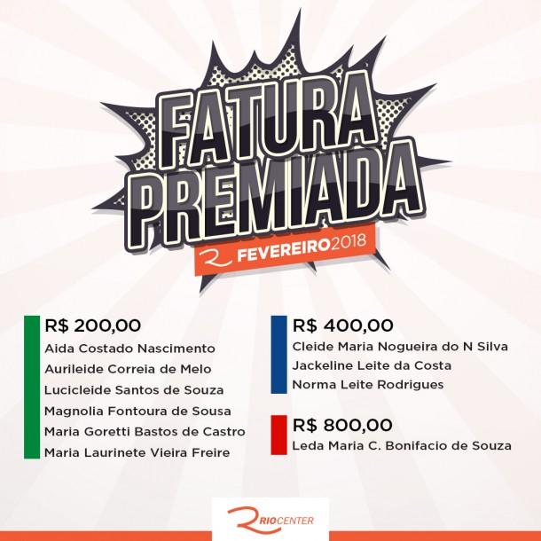 FATURA PREMIADA FEVEREIRO